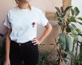 T-shirt brodé main ROSE - 100% coton