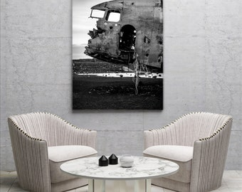 Airplane wreck Black/white Aludibond/Real photo poster