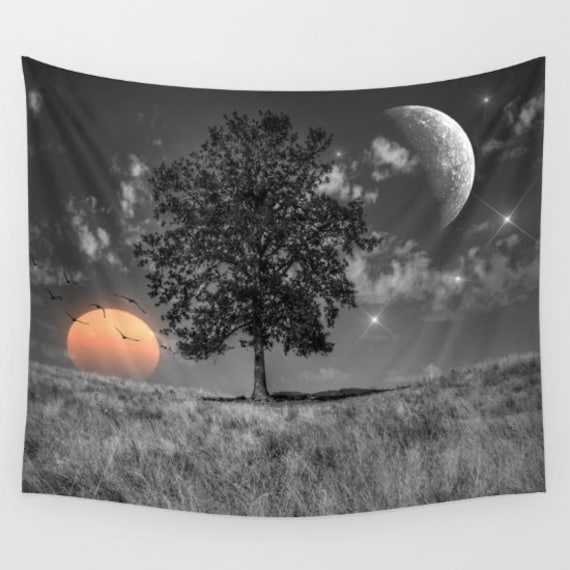 Night and Day Wall Art Tapestry, Tree Tapestry, Stars, Planets, Moon, Sunset, Dorm,Nature,Surreal Home Interior, Sunset Tapestry,Sun,Yoga