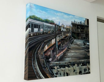 Urban Cityscape Original Oil Painting  - 20x16