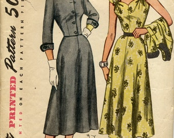 Mid 1950s elegant, one-piece dress and jacket pattern, Simplicity 8386, Size 16, bust 34