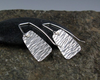 Small Textured Sterling Silver Earrings-Handmade
