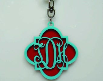 Quatrefoil Double Stacked Monogrammed Keychain
