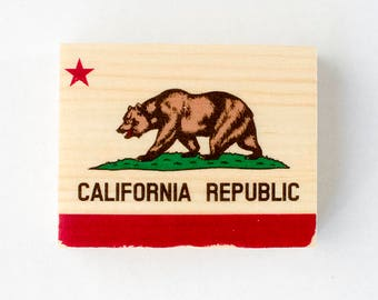 "California Bear State Flag - 2""x2.5"" Mini Distressed Photo Transfer on Wood"