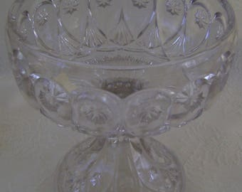 Footed Cut Glass Compote - Priscilla