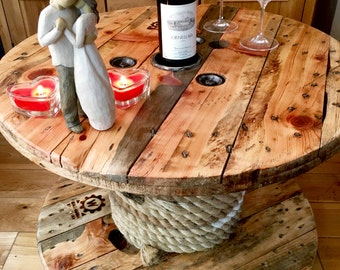 Bespoke Handmade Wooden Cable Drum reel Table Rope Bottle rack Industrial Rustic
