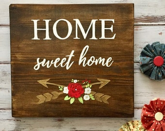 Home Sweet Home - Rustic Sign with Gold Arrows and Whimsical Flowers