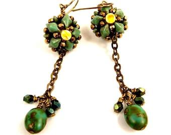 Turquoise Green Boho Beaded Earrings, Southwestern Style Long Dangles