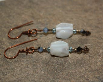 Blue Lace Agate and Swarovski Crystal Earrings