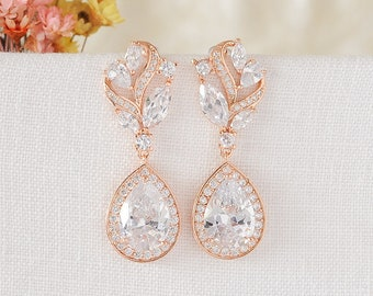Rose Gold Bridal Earring, Dangle Drop Earrings, Wedding Earrings, Crystal Teardrop Earrings, Leaf Filigree Earrings, Bridal Jewelry, MALORY