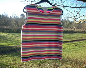 90s does BRIGHT COTTON STRIPES Sleeveless Top or Shell. Lg