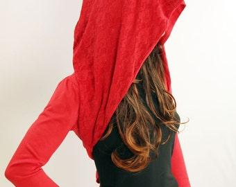 Oversized Hoodie, red hoodie, red hooded, hoodie for women, lace hoodie