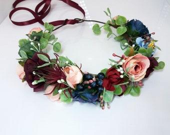 Burgundy Navy blue Blush Flower crown,Floral crown,Wedding flower crown,Flower girl crown,Bridal flower crownl,Maternity crown