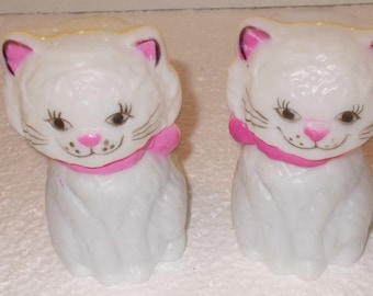 "Cat Salt and Pepper Shakes-Meowers. Polycarbonate 3 3/4"" high"