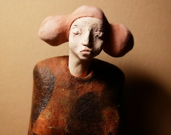 Standing Woman in Brown Dress with two buns/ Ceramic Colorful Unique Standing Sculpture/ Female Figure