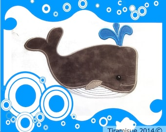 Whale Machine Embroidery Design - Applique Style 6 x 10