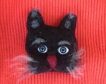 Felted brooch cat, Black cat woolen brooch, black cat brooch, animal brooch, Felted Cat brooch, Black Cat brooch Felted, woolen Cat brooch