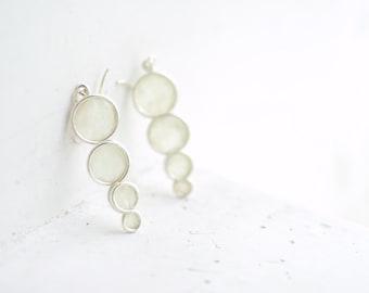 White Silver Earrings, Chic Wedding Jewelry, Long Dangle Earrings