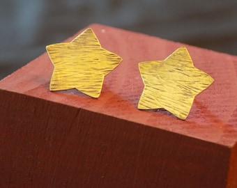 Brass Star Earrings steampunk oxidized