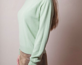 Vintage 80's Green Sweater, Green Long Sleeve Sweater