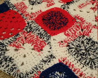 Red, White, and Blue squares Wheelchair Rim Cozy