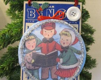 Vintage Christmas Carolers Holly Altered Bingo Card Holiday Decoration Door Hanger Ornament Retro