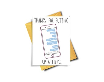 Thanks For Putting Up With Me Funny Card For Boyfriend,  Funny Valentine Card, Funny Valentines For Boyfriend, Vday Card Funny, Galentine