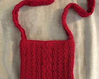 Red Handmade Crocheted Handbag