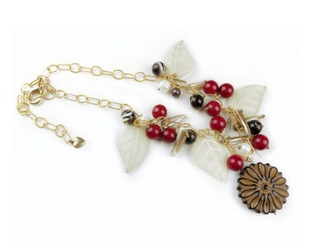 Mothers day, jewelry gift for girlfriend, gift for sister in law, leaf necklace, red necklace for women, statement necklace, anniversary