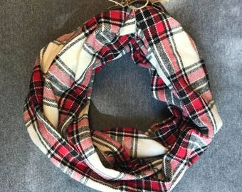 Cream and Red Plaid Flannel Infinity Scarf
