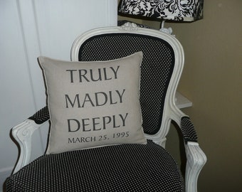 Truly Madly Deeply Pillow Cover - Personalized at NO EXTRA COST