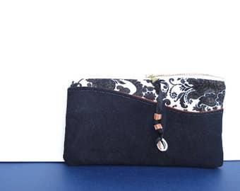Black Suede Leather Clutch Zipper Pouch