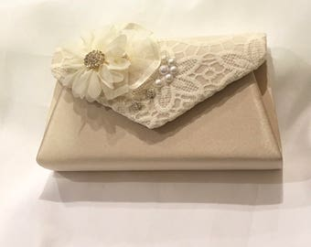 wedding bridal clutch purse ivory lace on champagne ivory color flowers elegant