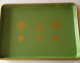 L gold topiary green serving tray