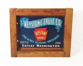Mid Century Fruit Crate Front Panel - Apple Label - Washington State