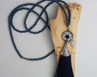 Navy Blue necklace with tassel