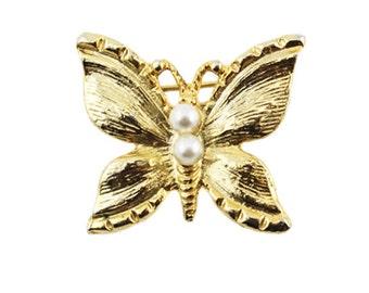 Gold Butterfly Brooch, Pearl Butterfly Brooch, Gold Butterfly Pin