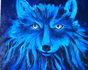 Blue Wolf oil painting.