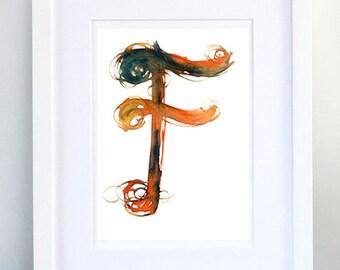 Print, Art Print, Wall Decor, Wall Art, Illustration Print, orange blue Ink Drawing, Letter F, print 8x11.5 inch (21x29.5 cm)