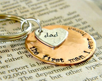 Personalized hand stamped key chain  - custom gift idea for men - gift from kids to dad - grandfather custom gift