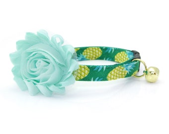 "Tropical Cat Collar + Flower Set - ""Pineapple Aqua"" - Summer Green + Mint Cat Collar w/ ""Mint"" Flower (Detachable) / Fruit / Cat & Small Dog"