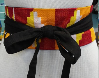 Reversible African Kente Cloth and Black Linen Obi Belt