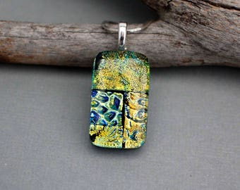 Sale Jewelry - Dichroic Glass Pendant Necklace - Unique Necklace For Women - One of a Kind Jewelry - Gift For Mom