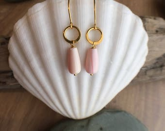 Conch Shell and Gold Vermeil Earrings