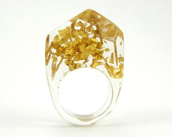 Resin Ring, Christmas Gift For Woman, Gold 24K Resin Ring, Unique Clear Resin Ring with  Real 24K Gold Leaves, Fashion Ring