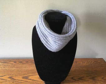 Upcycled cashmere neck warmer #49. Heather grey cashmere cowl. Ribbed grey cashmere gaiter.