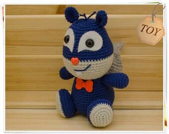 Amigurumi Squirrel, Crochet Squirrel, Blue Squirrel Toy, Plush Squirrel, Handmade Squirrel, Amigurumi Chipmunk, Woodland Animal
