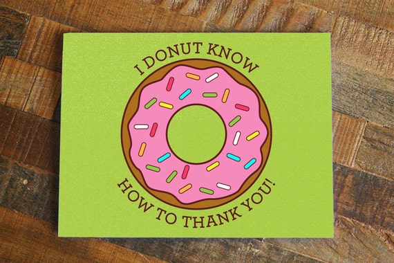 funny thank you card donut pun card thank you note greeting