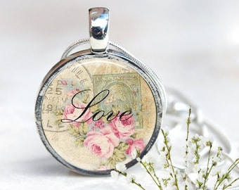 Silver Pendant Necklace, Silver Necklace, Pendant Necklace, Love Quote Necklace, Resin Jewelry, Resin Pendant, Inspirational Quote