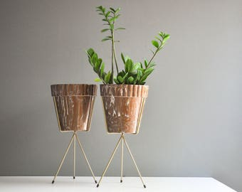 Mid-Century Brown and White Planter on Brass Tripod Plant Stand